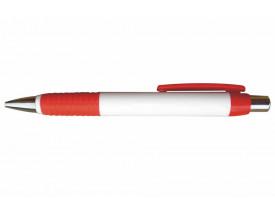 50 Canetas Plástica para personalizar Borracha e Clip em Vermelha