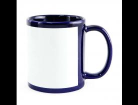 Caneca Ceramica Azul Cobalto Com Tarja Branca Sublimação