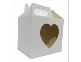 10 Caixinhas Branca Sublimatica C/ Visor Coração Para Caneca