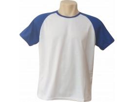 Camiseta Branca Raglan Manga Azul 100% Poliester Para Sublimação