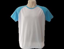 Camiseta Branca Raglan Manga Azul Turquesa 100% Poliester Para Sublimação