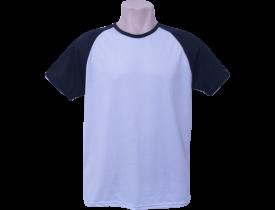 Camiseta Branca Raglan Manga Preta 100% Poliester Para Sublimação