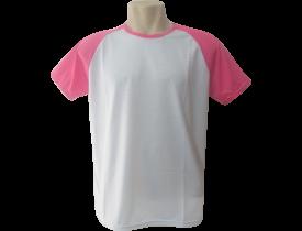 Camiseta Branca Raglan Manga Rosa Tutti Frutti 100% Poliester