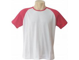 Camiseta Branca Raglan Manga Vermelha 100% Poliester Para Sublimação