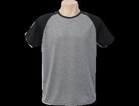 Camiseta Cinza Mescla Raglan Manga Preta 100% Poliester Para Sublimação