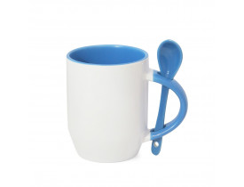 Caneca de Ceramica Branca para Sublimação Alça, Interior e Colher - Azul Claro
