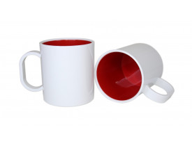 Caneca de Polímero Interior Colorido Para Sublimação-Vermelho