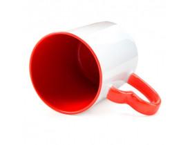 Caneca Colorida Vermelha para Sublimação Alça Coração