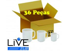 Caixa com 36 Canecas Branca Porcelana P/ Sublimação AAA LIVE