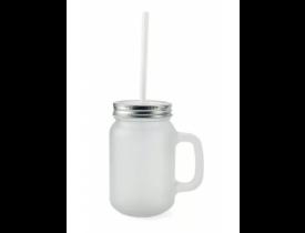 Caneca Mason Jar Fosca Para Sublimação com Tampa Prata e Canudo Branco