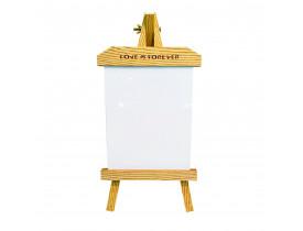Cavalete de Madeira com Tela MDF 20x25cm Para Sublimação - Vertical