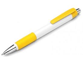 50 Canetas Plástica para personalizar Borracha e Clip em Amarela