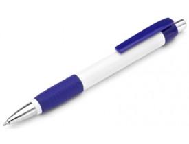 50 Canetas Plástica para personalizar Borracha e Clip em Azul