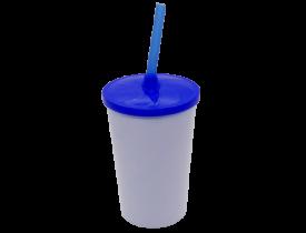 Copo Branco 480ml Com Tampa e Canudo Azul