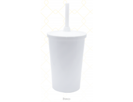 Copo C/ Tampa e Canudo 480 ml Branco Unidade