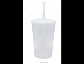 Copo C/ Tampa e Canudo 480 ml Transparente Unidade