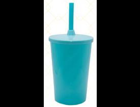 Copo C/ Tampa e Canudo 480 ml Azul Tiffany Unidade