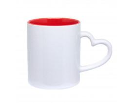 Caneca Cerâmica Branca Alça Coração Interior Vermelho