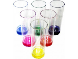 Copo Long Drink Transparente 350ml com Gel Colorido