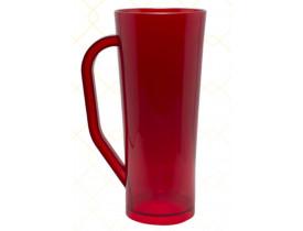 Caneca Long em Acrilico 420ml Vermelho Translúcido - Unidade