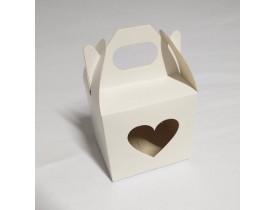 50 Caixinhas Brancas Tipo Surpresa P/ Caneca C/ Visor Coração