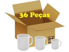 Caixa com 36 Canecas Branca Porcelana P/ Sublimação A